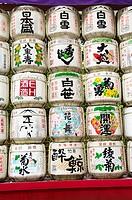 Sake barrels in a temple, Tokyo, Japan