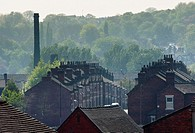 An urban landscape of Potteries factory housing in Middleport, Stoke-on-Trent, Staffordshire, England