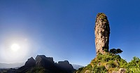 Panorama of a landscape of the buttes of Mulit near the Escarpment of the Simien Mountains at about 2000m during the end of the rainy season close to ...