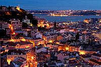 View of Lisbon´s downtown and martim Moniz square with river on the background