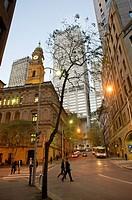 Spring Street at dusk, Sydney, Australia