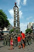 Monument als Castellers, bronze sculpture, 1999, arq Francesc Angles, Rambla Nova, Tarragona, Catalonia, Spain