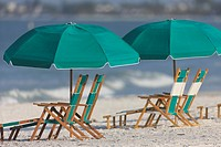 Beach furniture on a sunny day at Fort Myers Beach, Florida, USA
