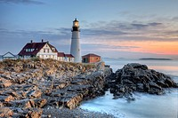 The Portland Head Light, built in 1791, protects mariners entering Casco Bay. The lighthouse is located in Fort Williams Park, Cape Elizabeth, Maine, ...