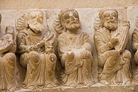Church, esculpture decoration detail, Ahedo de Butrón, Burgos province, Castilla-León, castille-Leon, Spain