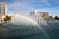 A rainbows appears in the fountains of the Bellagio Hotel in Las Vegas, Nevada, United States