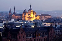 Cathedral of Trier and Basilica of Constantine, illuminated at night, Trier, Germany