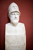"Herm of Pericles bearing the inscription ""Pericles, son of Xanthippus, Athenian"", Roman copy of the original by Kresilas, Vatican Museums"