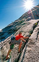 Rock climbing a route called Memorial which is rated 5,8 and located on Slick Rock near the city of McCall in the Salmon River Mountains of central Id...