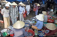 Women in conical hats buy and ssell fish at riverside market Hoi An historic town mid Vietnam