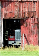 Truck in a barn in Sunderland, Massachusetts, USA