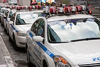 NYPD cars line 42nd Street between 6th and 7th Avenues during the heightened security alert on September 10, 2011 in New York City, New York, USA