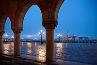 view to San Giorgio Maggiore from Doges Palace St Marks Square Venice Italy at twilight
