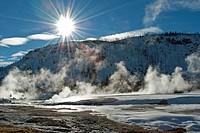 Sunburst, Black Sand Basin, Winter, Yellowstone NP, WY