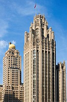 The Tribune tower and the famous skyline of Chicago