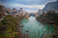 Bridge Stari Most or ????? ???? joining the two halves of the city of Mostar in Bosnia-Herzegovina.