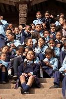 School children gathering at Nyatapola Temple - Bhaktapur, Kathmandu Valley, Nepal