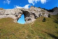 The rock arch ´Okno´ at the natural reserve Ohniste, Janska dolina in Nizke Tatry mountains, Slovakia