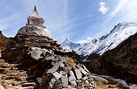 Buddhist stupa and mani stones, Everest Region, Nepal