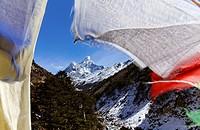 Ama Dadlam mountain and prayer flags, Everest Region, Nepal