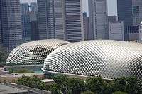The durian-shaped dome of Esplanade – Theatres on the Bay  The multifucntional structure is a popular local landmark and it is located in Marina Bay  ...