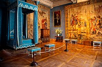 The bedroom of Queen Maria Theresa of Spain, the first wife of Louis XIV, in Chateau de Chambord in the Loire Valley of France