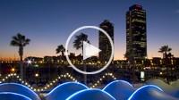 Torre Mapfre and Hotel Arts at dusk, Barcelona, Spain