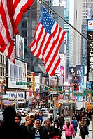 Streetscene , american flag , new york city