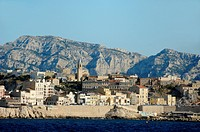 Endoume District of Marseille Townscape or Cityscape from the Sea Marseille or Marseilles France
