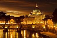 St  Angel Bridge and St  Peter Basilica in evening light, Rome, Latium, Italy