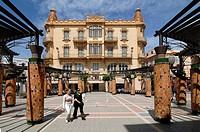 La Reconquista Department Store Building 1915 and Menendez Square or Plaza Melilla Spain