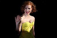 Europe, France, 06, Cannes Film Festival  The American actress, Jessica Chastain, before climbing the stairs, to present the film director Terrence Ma...