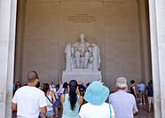 Tourists visit the Lincoln Memorial in Washington, DC