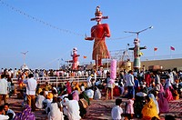 At the time of the hindu festival of Dussehra, effigies of the demon-king Ravana with his brother and son before being burnt. At Kota, India.