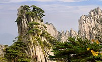 East end of Beginning to Believe Peak with Stalagmite Gang at Yellow Mountain Huangshan China