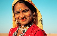 Hindu girl belonging to an untouchable group at the time of Diwali festival. Thar desert, India.