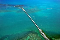 Overseas Highway, carrying U S  Route 1 or US 1 over Channel Five, connecting Craig Key front to Fiesta Key and Long Key, Florida Keys, Florida, USA, ...