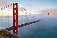The Golden Gate Bridge in fog, California, USA