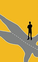 Man standing on a road in the shape of a woman