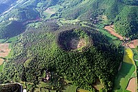 aerial view, Santa Margarida volcano, La Garrotxa, Catalonia, Spain
