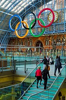 UK, England, London, St Pancras Railway Station, Olympic Rings