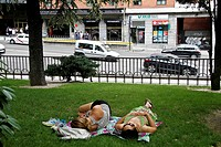 Siesta at Plaza de España Garden, Madrid, Spain
