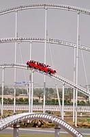 Abu Dhabi, United Arab Emirates: 'Formula Rossa' roller coaster at Ferrari World Abu Dhabi, Yas Island