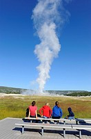 Visitors View Old Faithful Geyser Yellowstone National Park Wyoming, WY
