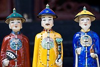 Traditional Chinese ceramic figurines in a market, Pingyao, Shaanxi Province, China.
