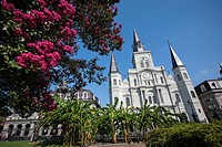 The Cathedral-Basilica of St  Louis King of France is the oldest Catholic cathedral in continual use in the United States, in Jackson Square