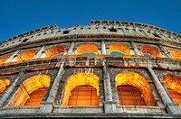 HDR of the exterior of the Colosseum in the evening, Rome, Italy, Europe