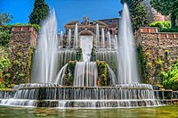 HDR of The Renaissance Gardens of the Villa d´Este, Tivoli, near Rome, Italy, Europe