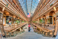 The Arcade in Cleveland, Ohio, a landmark shopping and mercantile center dating from 1890, was one of the first indoor shopping centers in America. Th...