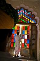 Stained Glass, Meherangarh Fort  Jodhpur  Rajasthan  India.